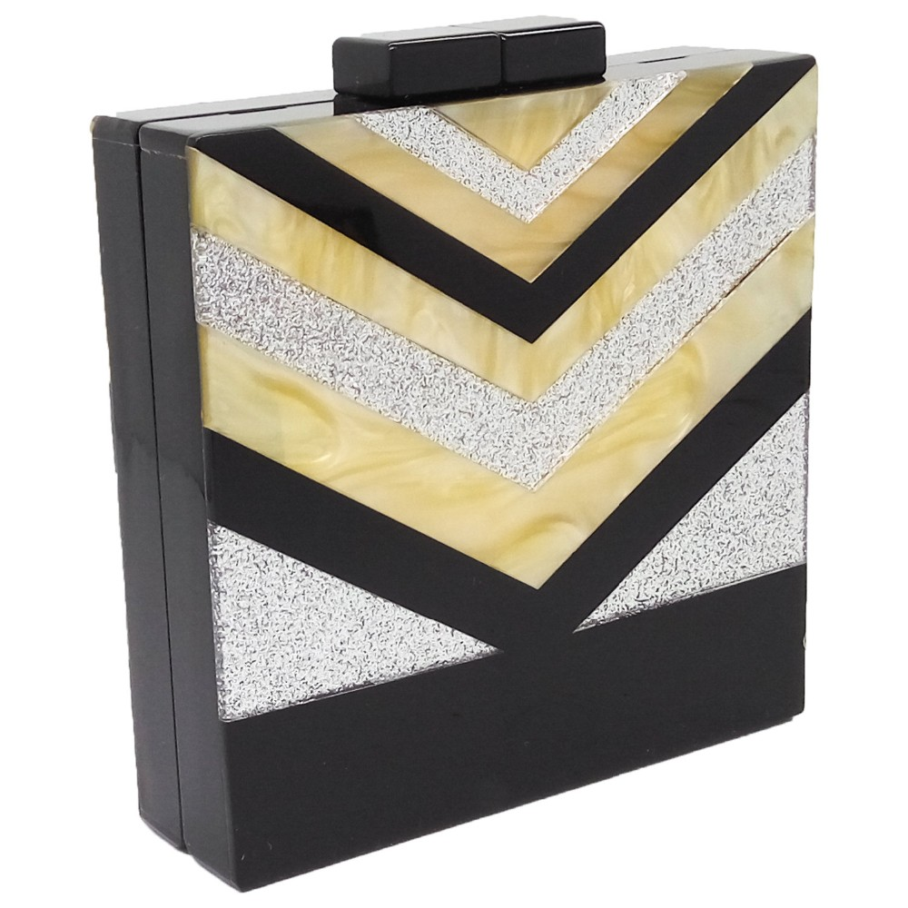 ff8e3519f4 Women's Black\Gold\Silver V Striped Handbags Acrylic Box Evening Bag  Clutches Hard Case Wedding Prom Bridal Shoulder Clutch Bags