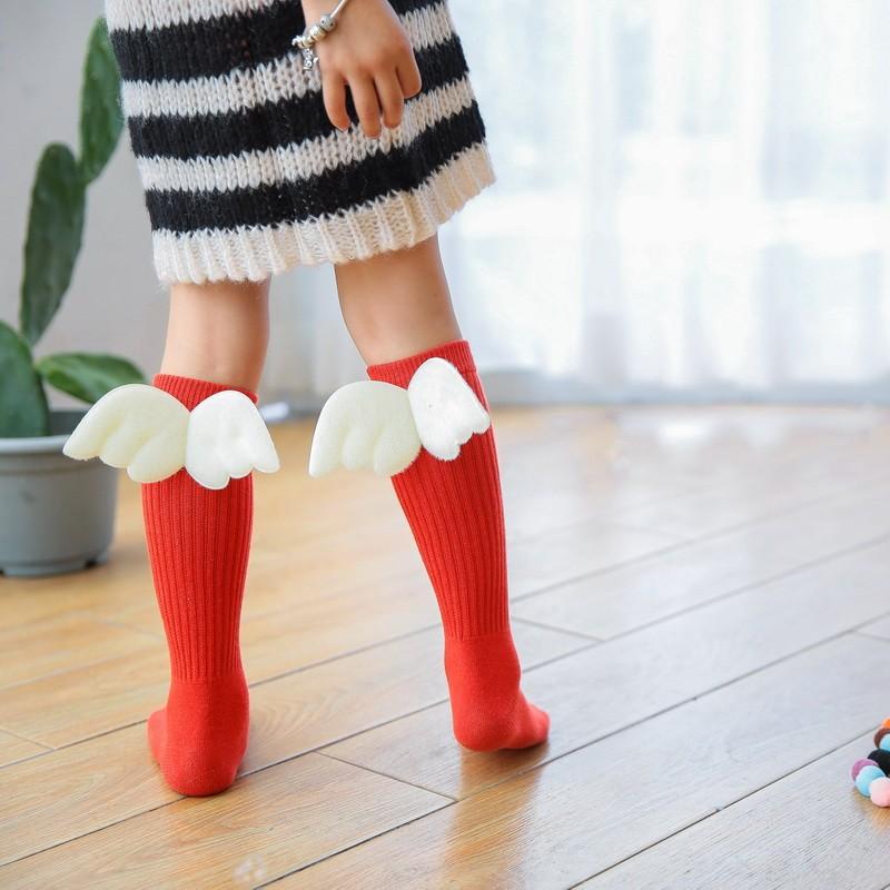 Boys Girls With Wings For Baby Kids Socks Soft Cotton Toddler Knee High Socks