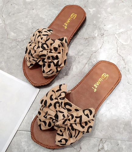Leopard Bow-knot Ladies Slippers Summer