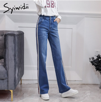 Mareya Trade Stripe Side Jeans Wide Leg High Waist Pants Long Jeans Jeans For Women Pantalon Femme Blue Mother Plus Size Fashion Cotton Jeans