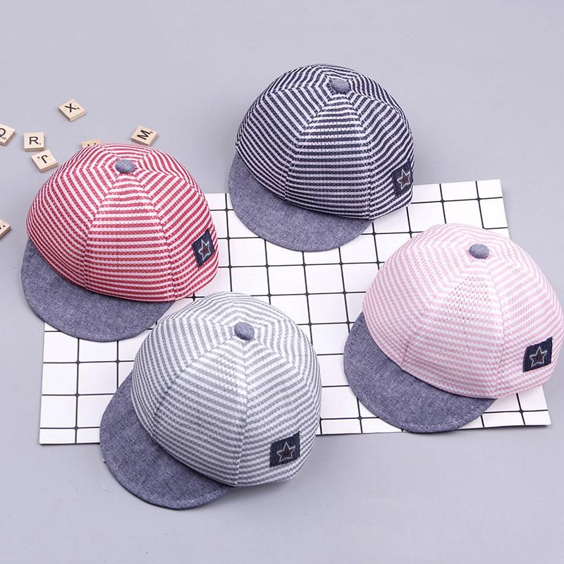 Baby Boys Girls Summer Hats Striped Soft Cotton Eaves Baseball Cap Beret Sun Hat