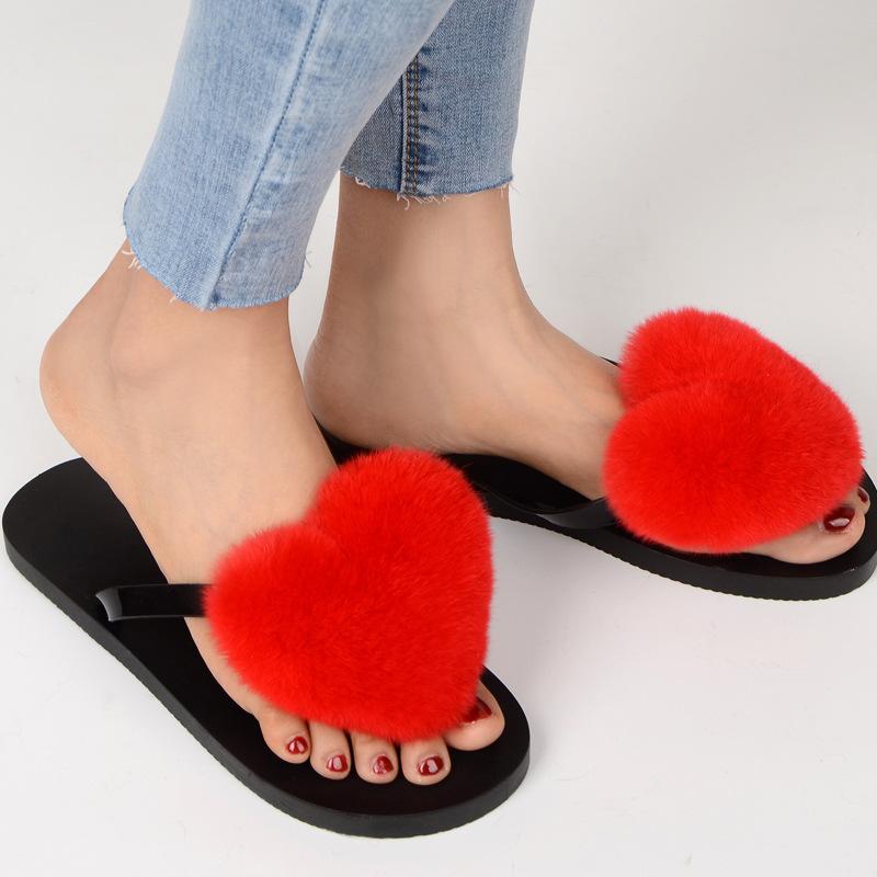 Women/'s Plush Pom-Pom Flip-Flop Slipper